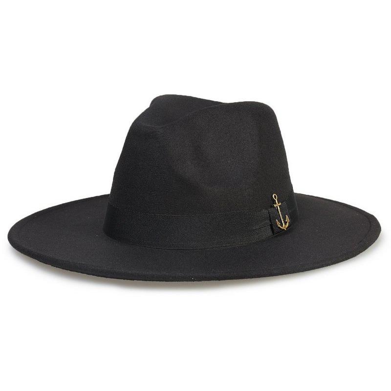 chapéu fedora preto aba 8cm âncora ouro velho. Carregando zoom. 70d1cafad47