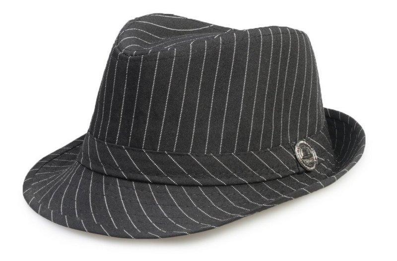 chapéu fedora preto aba curta infantil criança risca de giz. Carregando  zoom. 706e31847a3