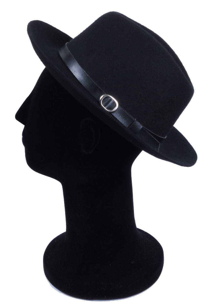 52002eab3e chapéu fedora preto com fivela feltro com laço e aba de 7cm. Carregando zoom .