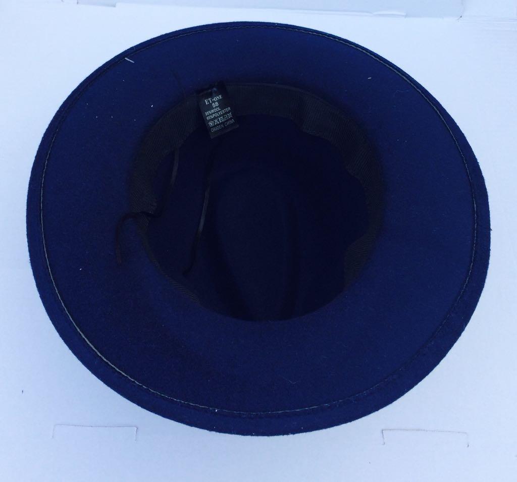 9ac83cd211c33 chapéu fedora unisex feltro com aba grande azu -cp101. Carregando zoom.