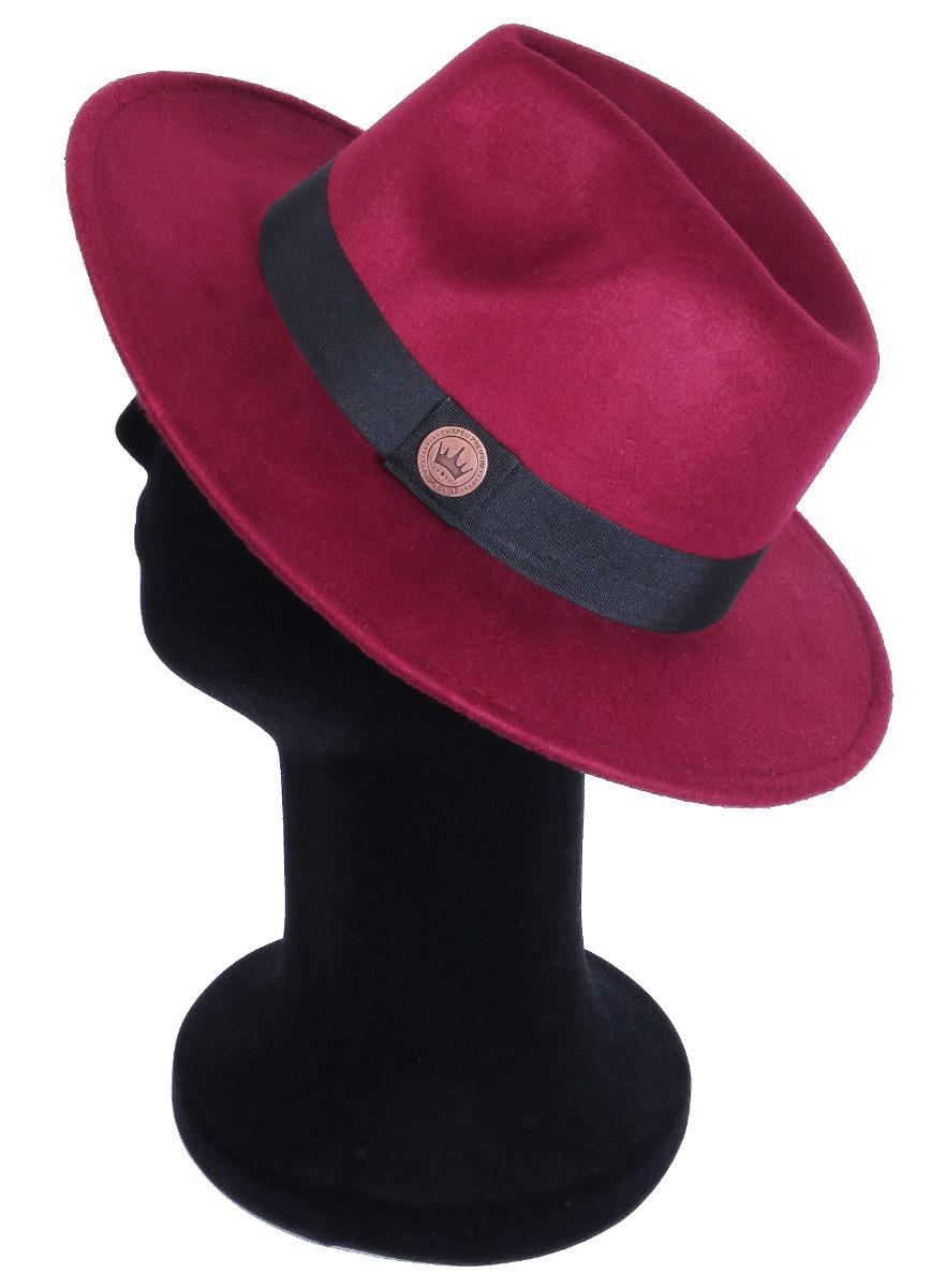 10faa2a67944e chapéu fedora unissex bordo com faixa preta aba reta media. Carregando zoom.