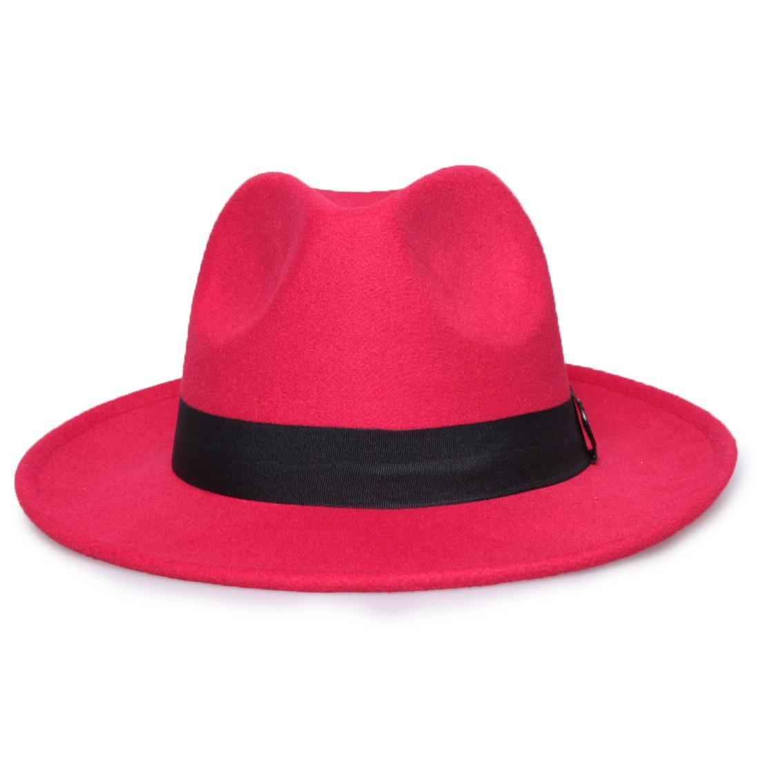 bc3e452d4571a chapéu fedora vermelho aba média 7cm - tam. único. Carregando zoom.