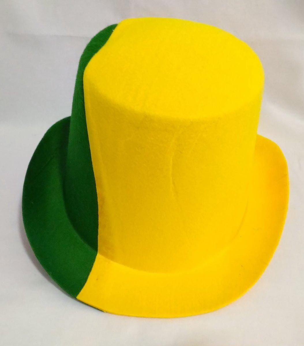 86a054f7414e4 chapéu feltro cartola verde amarelo jogo brasil copa torcida. Carregando  zoom.