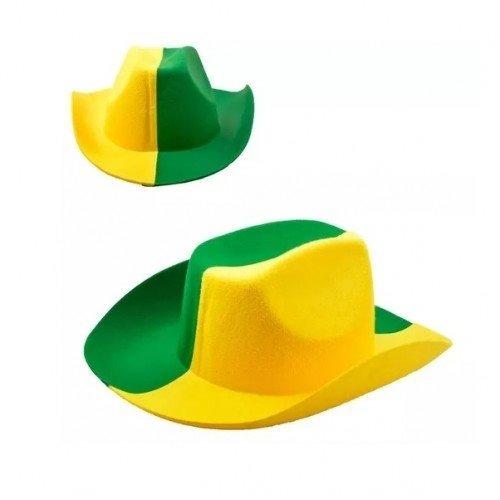 2c1691d0cf5ba Chapéu Feltro Cowboy Verde Amarelo Jogo Brasil Copa Torcida - R  21 ...