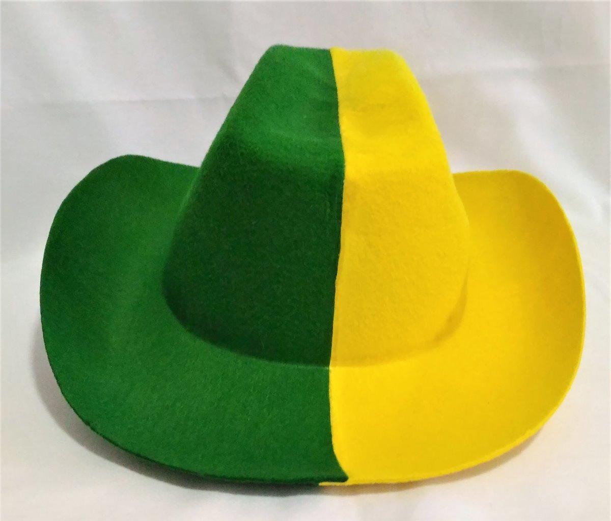 3ea742dadf0d6 chapéu feltro cowboy verde amarelo jogo brasil copa torcida. Carregando  zoom.