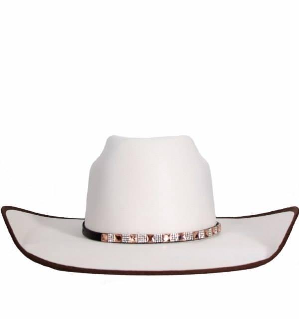 Chapéu Feminino Branco Com Strass E Vies Marrom Dallas - R  219 d21a4c29e4b