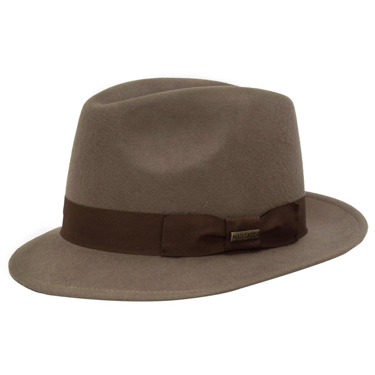 chapéu feminino masculino aba curta fedora borsalino marrom. Carregando  zoom. 2d0eb3da441