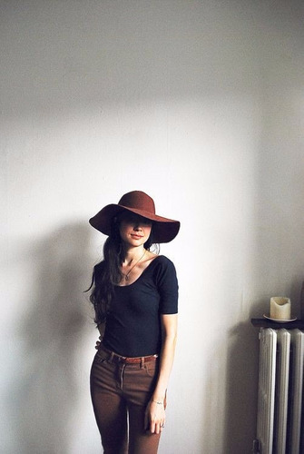 chapéu floppy boho marrom - aba 10cm