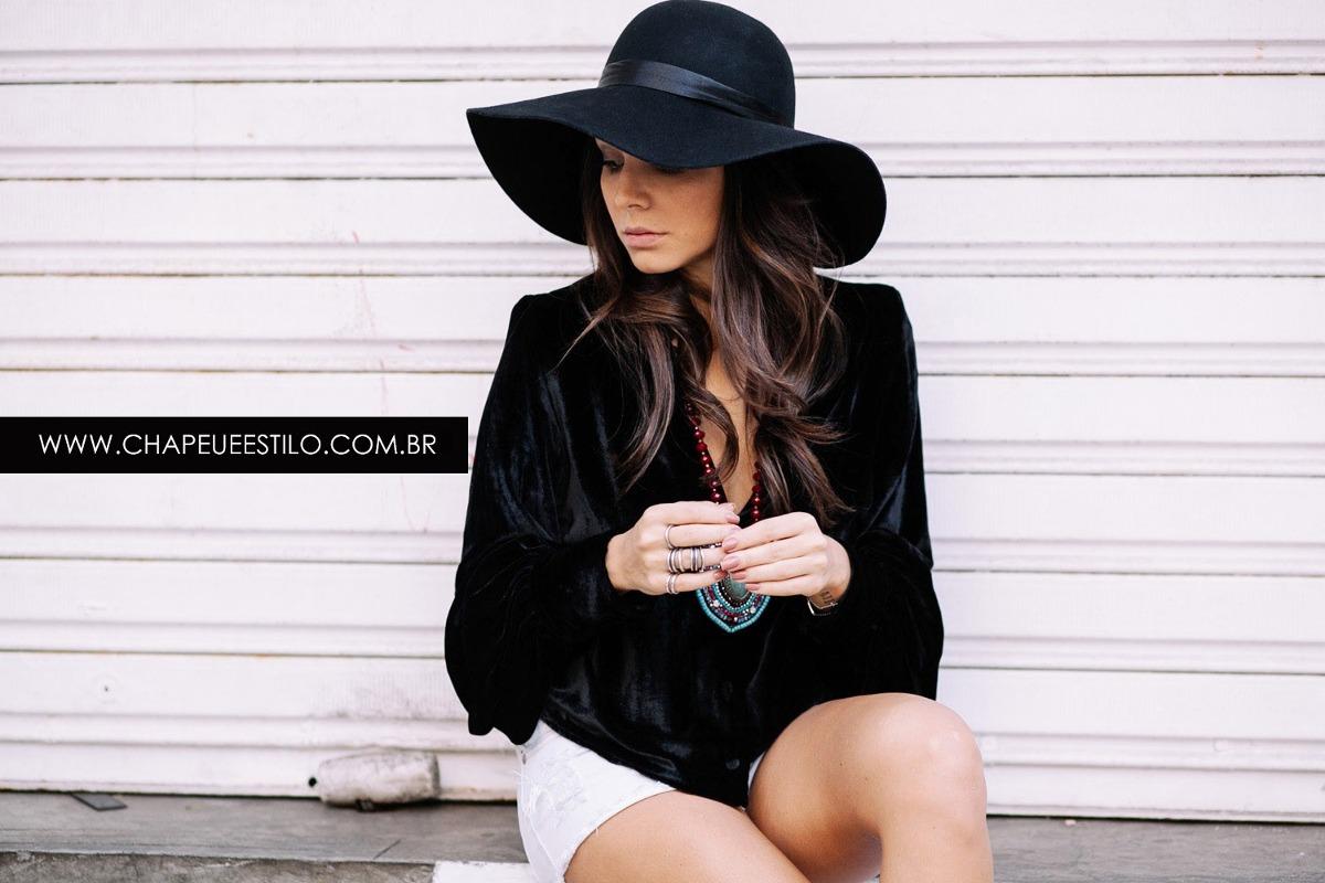 410e593c06e0e chapéu floppy boho preto feltro retrô lã tendência. Carregando zoom.