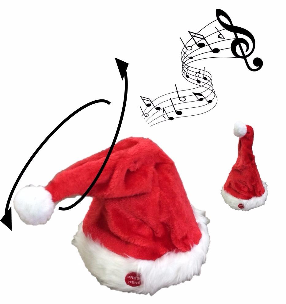 chapeu gorro de papai noel natal toca musical canta e dança. Carregando  zoom. 9b9a51346a3