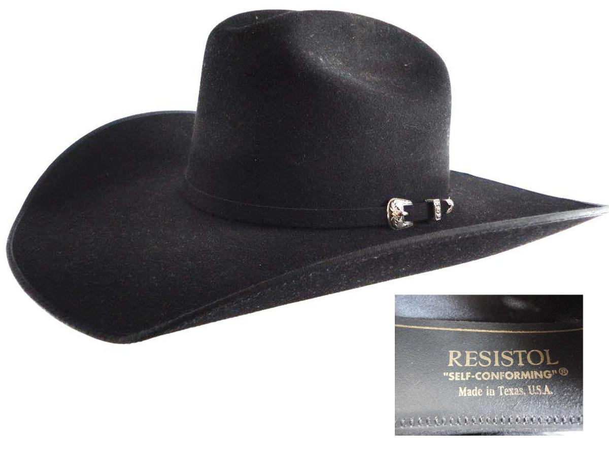 chapeu importado resistol 4x bison feltro preto 58 aba 10. Carregando zoom. 32f1ab428a8