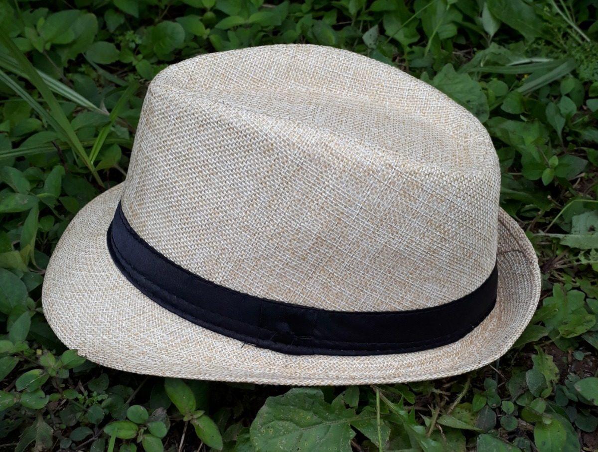 chapeu infantil aba curta modelo fedora preto palha ou cinza. Carregando  zoom. 3a53b00387a