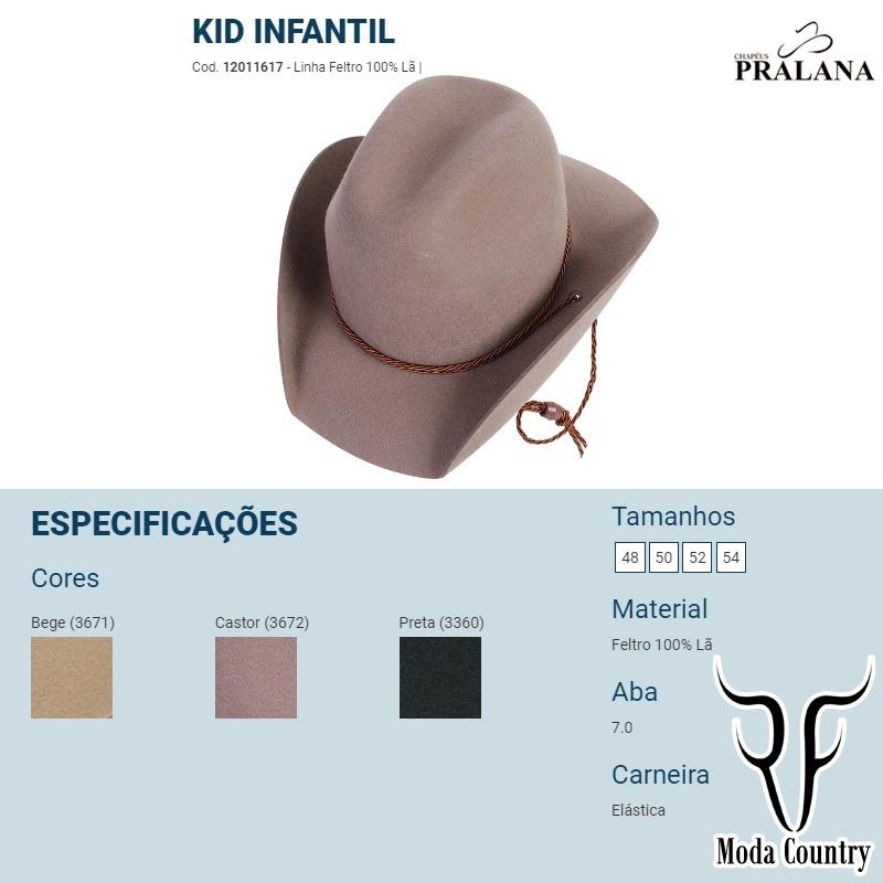 Chapéu Kid Infantil Feltro Aba7 Pralana Be-0xxxx - R  195 7c9b4aaf352