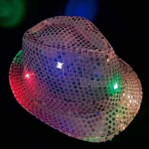 chapéu  malandro de led paitê para festas