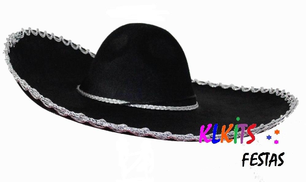 chapéu mexicano 60cm chapelão festa fantasia sombrero preto. Carregando  zoom. 72e2878822d