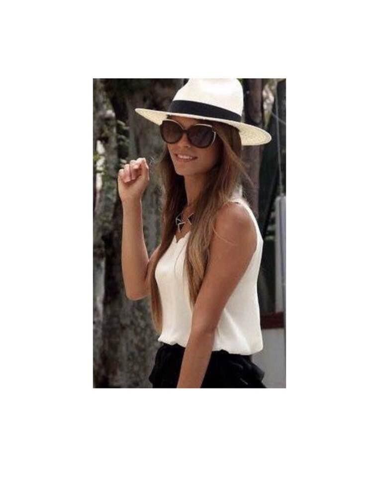 a76d1fd319118 chapéu moda panamá aba larga masculino feminino praia casual. Carregando  zoom.