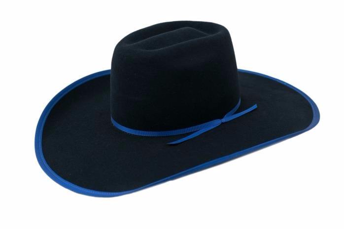 e6769358c2 Chapéu Mundial Ultimate Country Lã Preto Viés Azul Cowboy