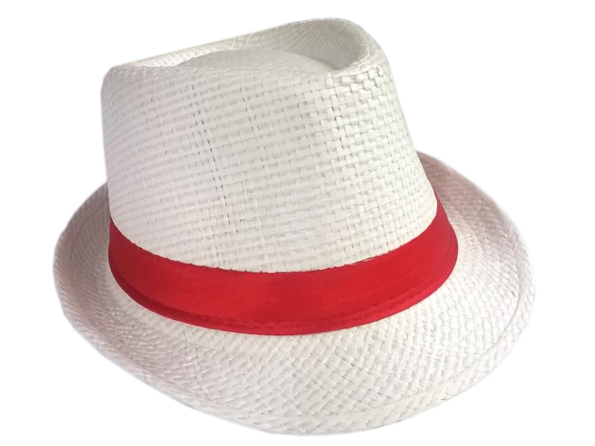 Chapéu Panama Aba Branco Com Fita Vermelha Adulto Malandro - R  10 ... 31e1a46a048