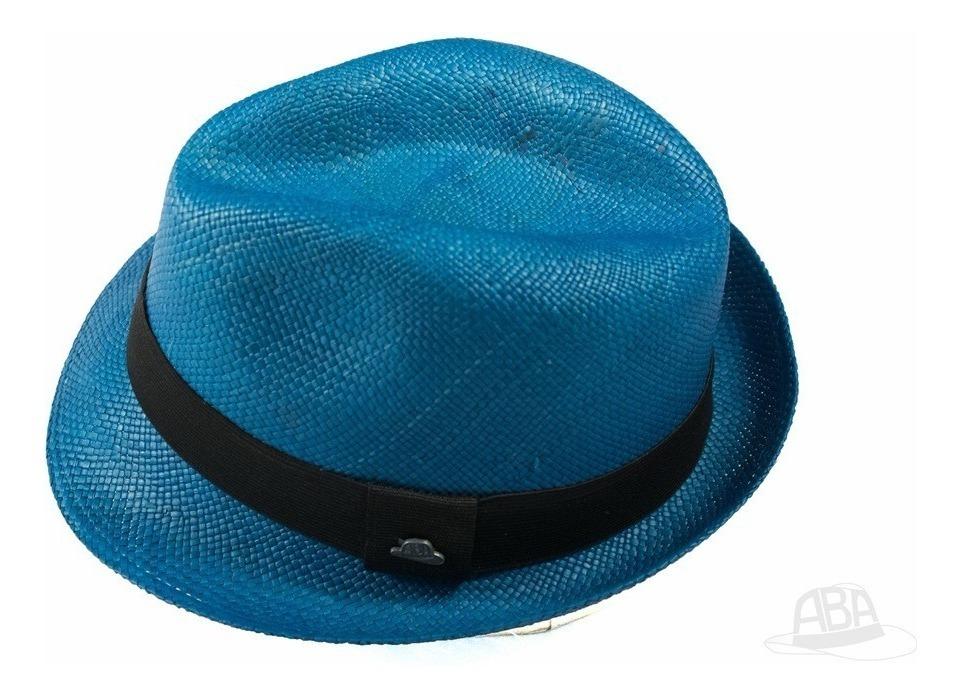 5c1d0b07d2 Chapéu Panamá Colorido Fedora Azul Masculino Original