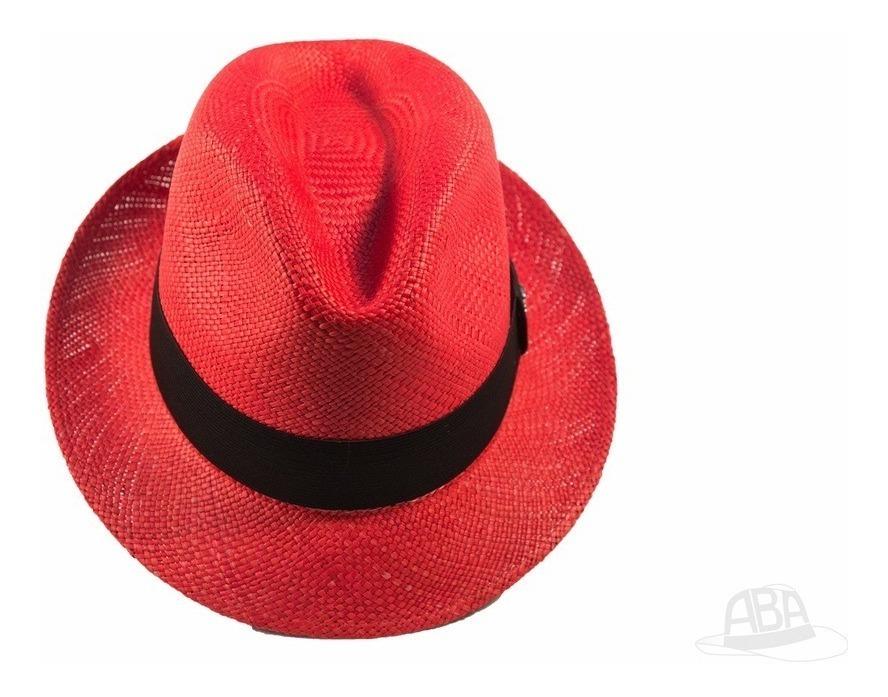 5d68bcc43c Chapéu Panamá Colorido Fedora Vermelho Masculino Original