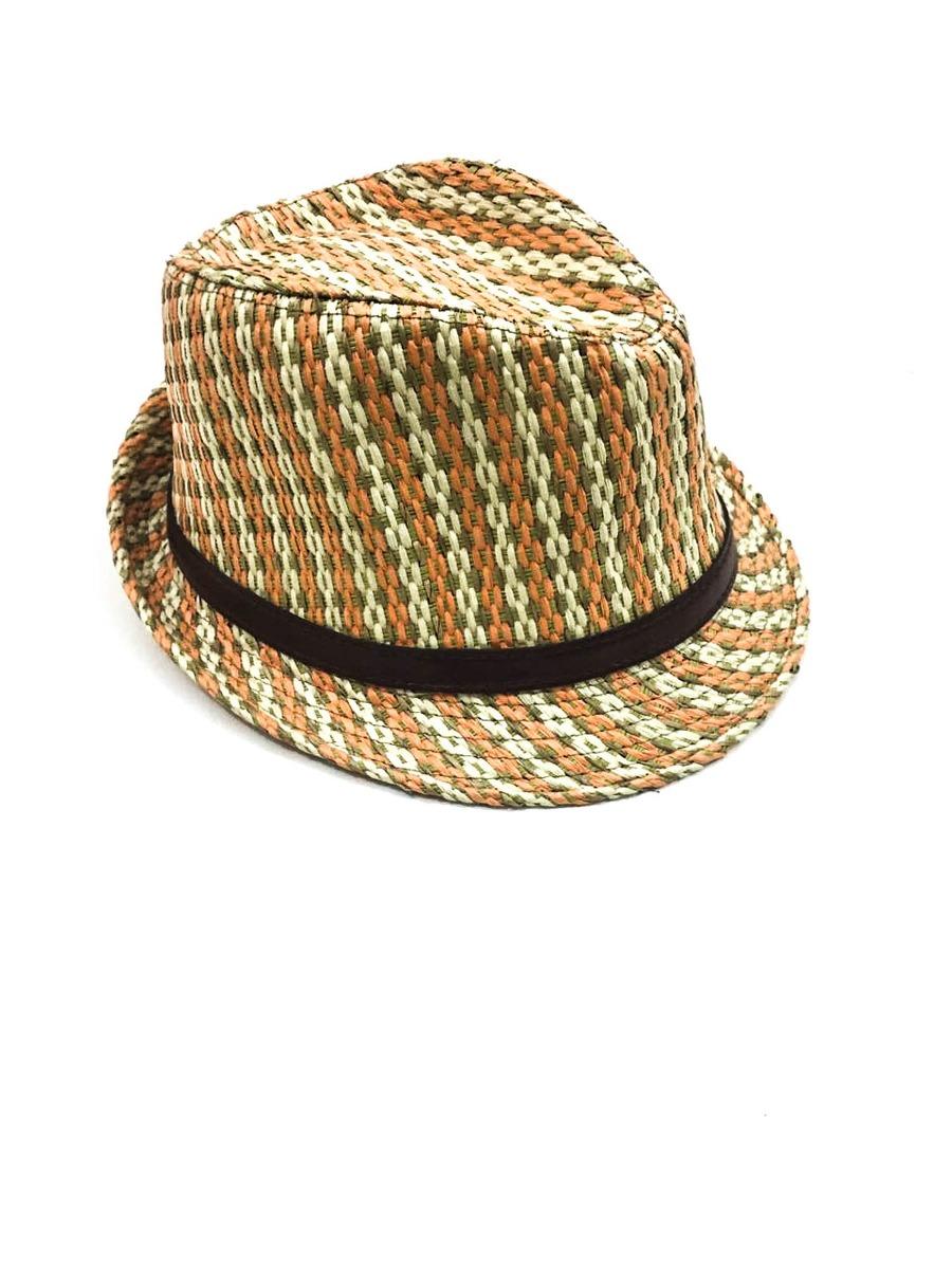 Chapéu Panamá De Palha Laranja Com Verde Jk Acessórios - R  9 056307be7c6