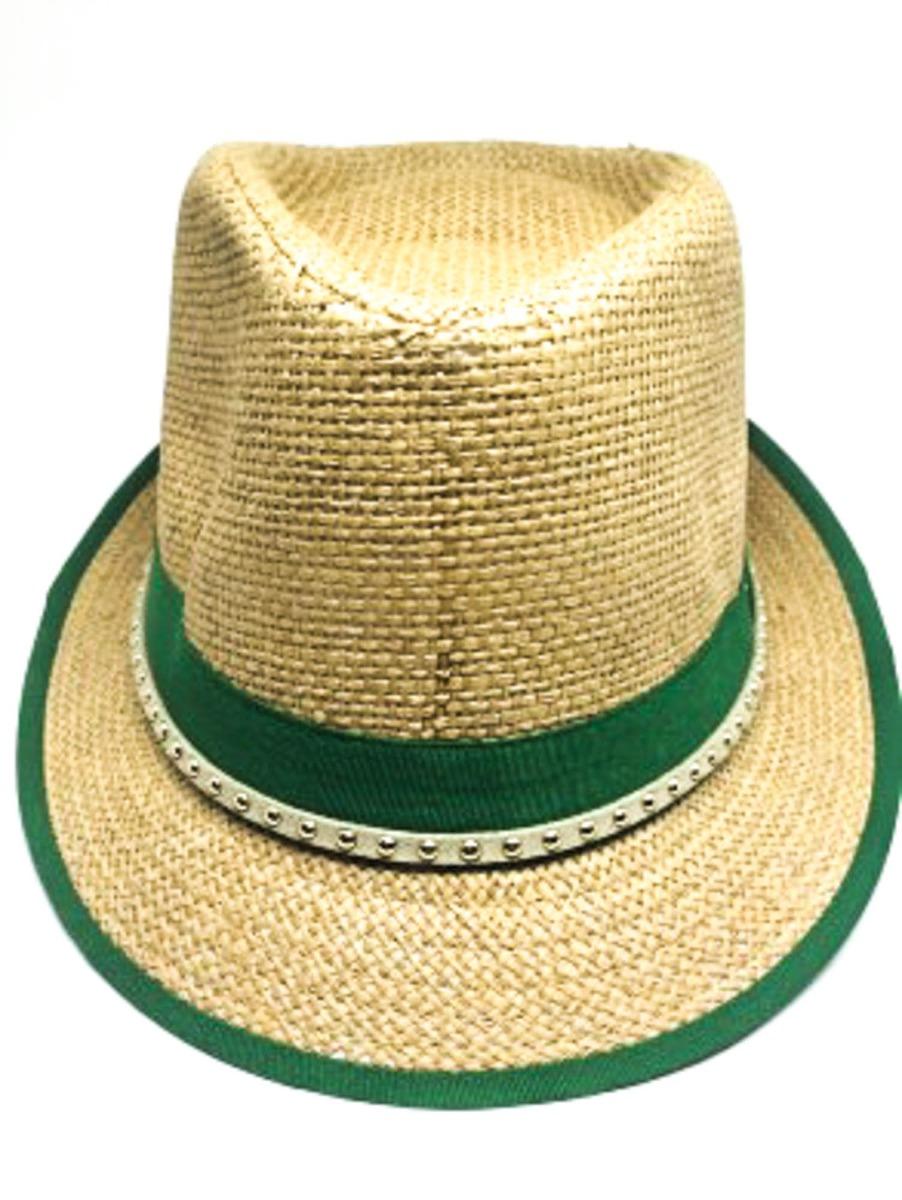 Chapéu Panamá De Palha Na Cor Caramelo Com Verde - R  9 c35c9097a37