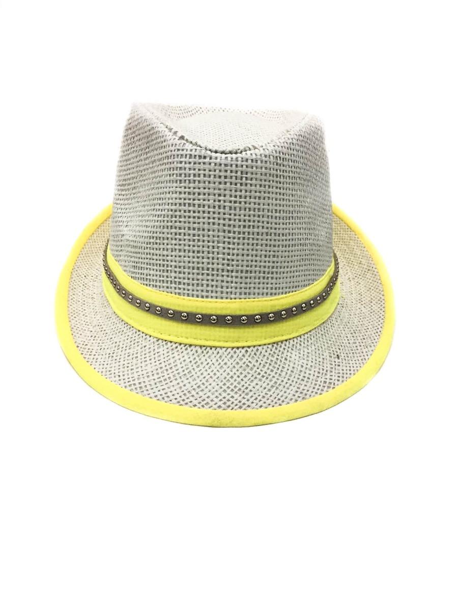 Chapéu Panamá De Palha Na Cor Off White Com Amarelo - R  9 33f550157c5