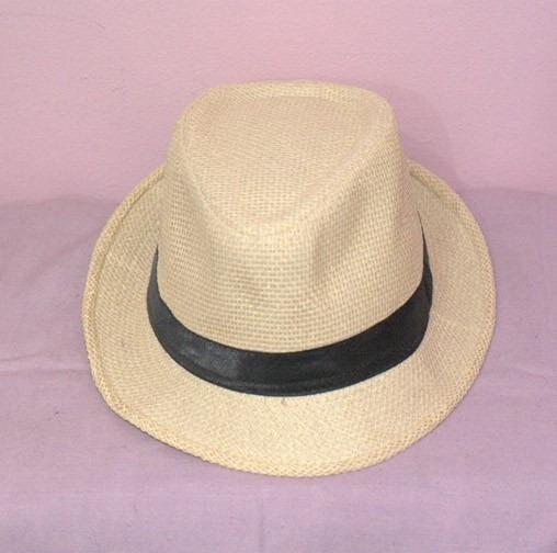 Chapéu Panamá Fedora Bege Creme Nude Com Faixa Preta - R  12 9d10bb82e56
