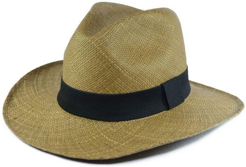 Chapéu Panamá Legítimo Caramelo Aba Grande Faixa Preta - R  259 61f3903ccf8