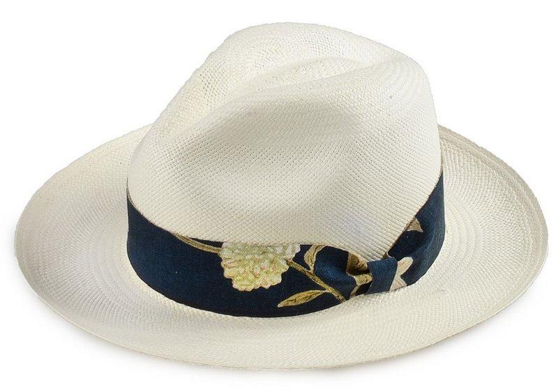 Chapéu Panamá Original Customizado Faixa Flower Azul Marinho - R ... 5eae9aec67f