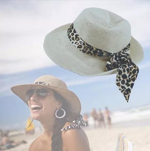 Chapéu Para Mulher Feminino Oncinha De Palha Panamá Estiloso - R  28 ... 9e461b86256