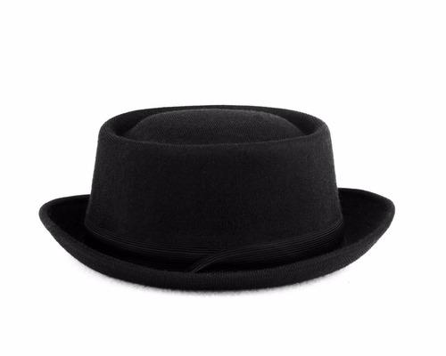 chapéu pork pie clássico preto unissex chapelaria vintage