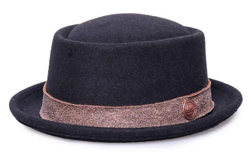 chapéu pork pie feltro preto aba curta feminino masculino. Carregando zoom. 37fb56092b1