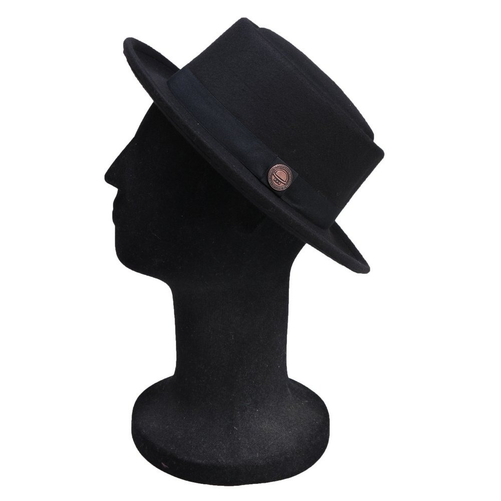 dc618eb28f92a chapéu pork pie masculino preto lã aba média 6cm. Carregando zoom.