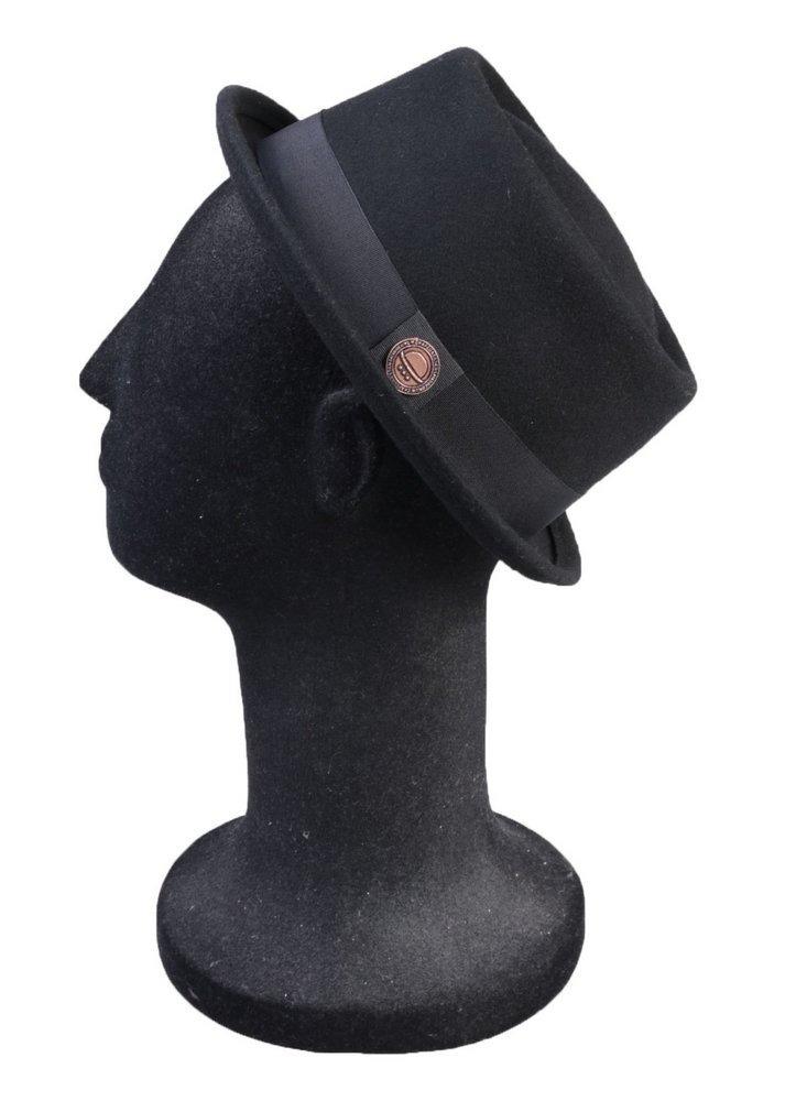 chapéu pork pie preto 100% lã 4cm faixa lisa chapéu e estilo. Carregando  zoom. 60152c09081