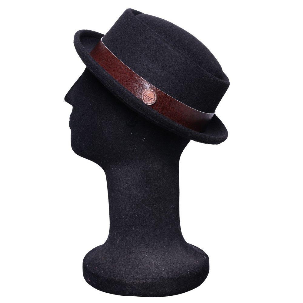 chapéu pork pie preto aba curta feltro com couro marrom. Carregando zoom. 33f9e6302cf