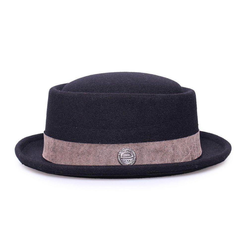 chapéu pork pie preto feltro aba curta edição couro cinza. Carregando zoom. 0cf0c167d84