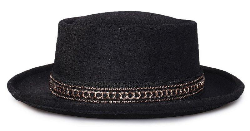 chapéu pork pie preto feltro aba média faixa dourada. Carregando zoom. 63683228b53
