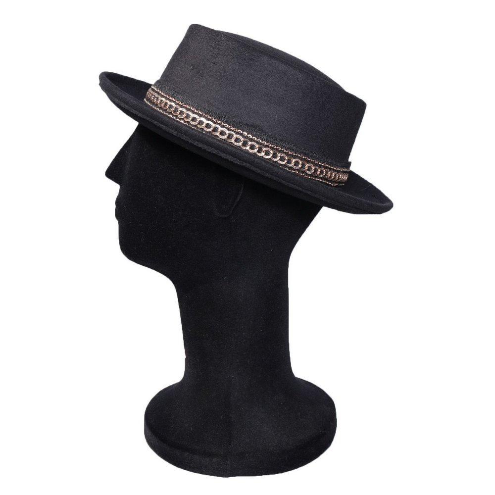 chapéu pork pie preto feltro aba média faixa linda barato. Carregando zoom. cbe3c2026dd