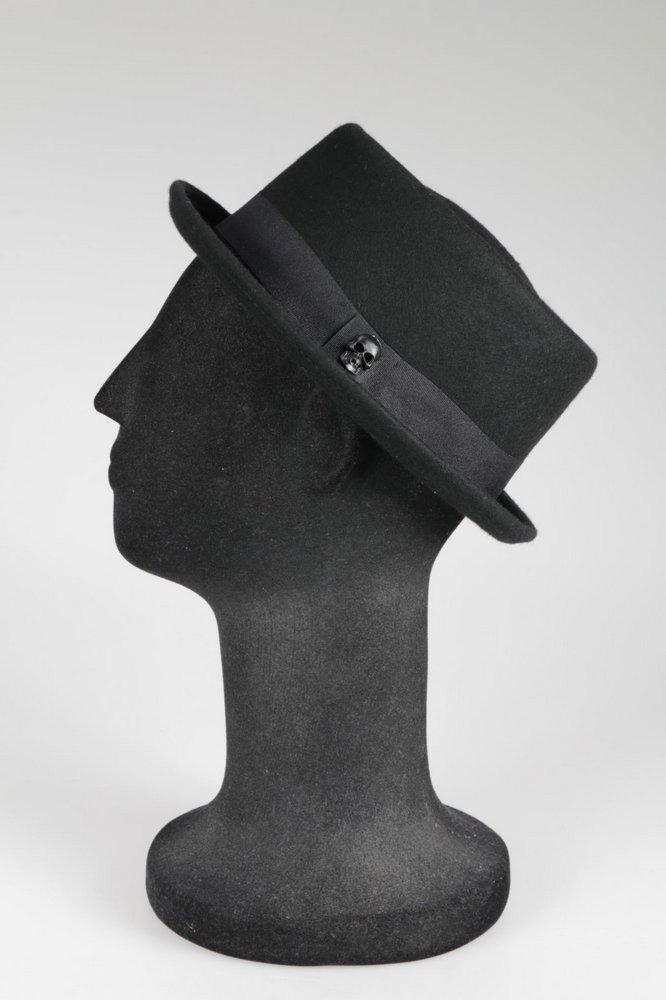 chapéu porkpie preto 100% lã cuztomizado caveira preta. Carregando zoom. 19af57646f0