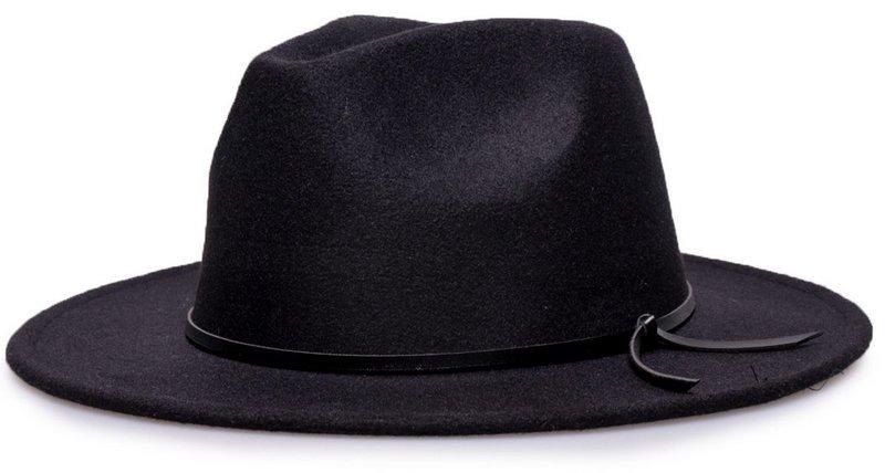 a03a134c8c575 chapéu preto fedora aba 7cm couro v ótima qualidade. Carregando zoom.