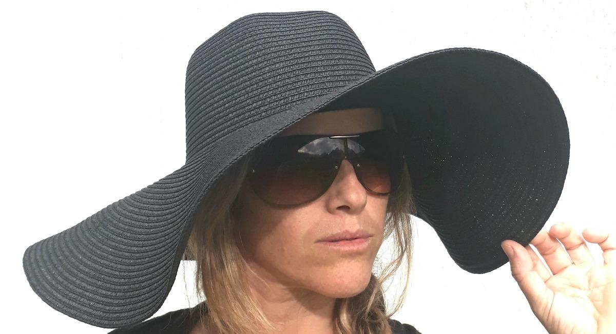 8c8787aaa4aac chapéu preto feminino floppy praia tipo palha aba grande. Carregando zoom.