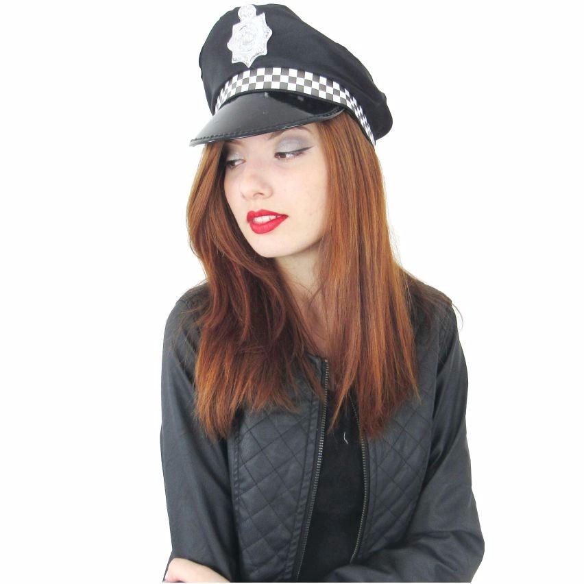 chapéu quepe boina policial preto fantasia festa cosplay. Carregando zoom. 3f66a0902f8