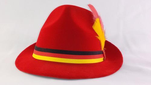 chapéu típico germânico gold vermelho p traje típico