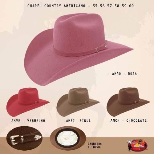 Chapéu Vermelho Cowboy Country Masculino Feminino Americano - R  79 ... 69c4b3aefa4
