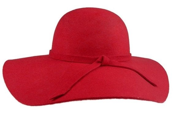 Chapéu Vermelho Floppy Aba Grande Feltro Lã Unissex - R  79 ed70cc9b6af