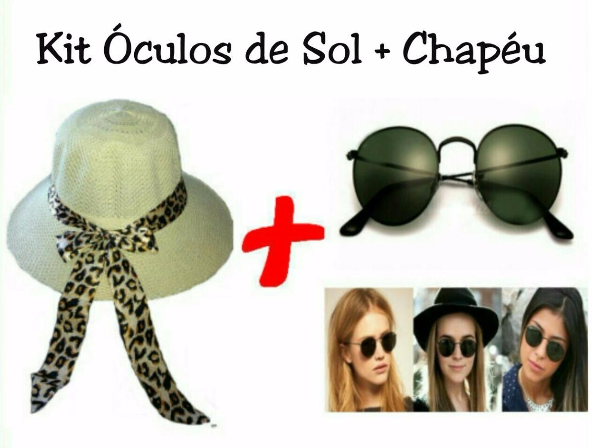 chapéu verão feminino mega promoção + óculos de sol redondo. Carregando  zoom. 0260177911