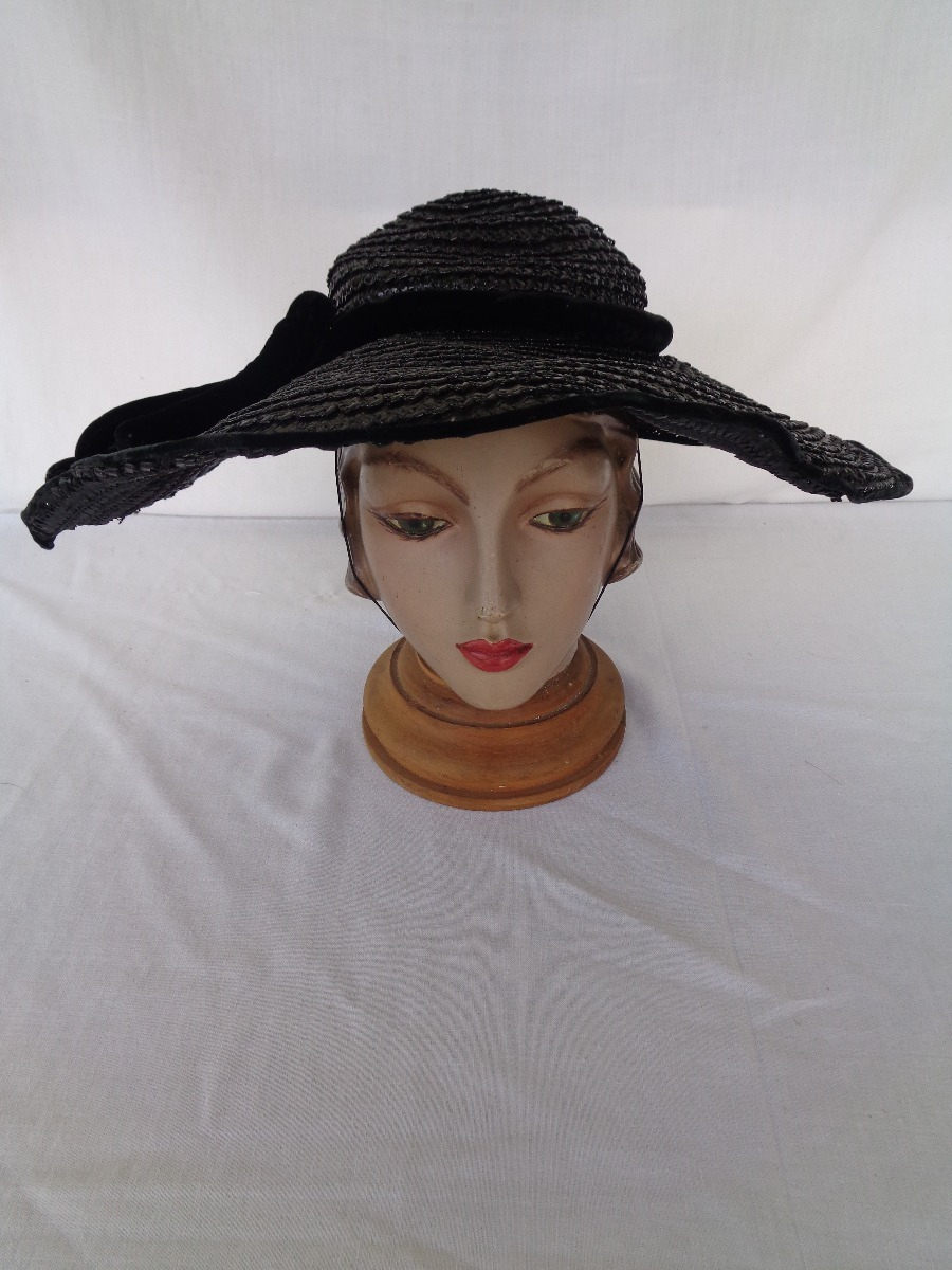 chapéu vintage palha preto laço nº 117. Carregando zoom. d673b2fbb95