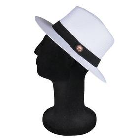 a96758e3adff5 Chapéu Estilo Panamá Aba Média 7cm Palha Shantung Branco Top
