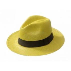 ab98a2ed800ef Chapéu Masculino Aba Grande Estilo Panamá Amarelo Moda Praia